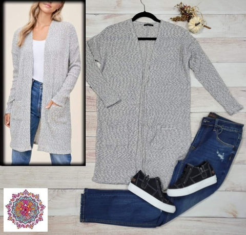Open front two tone pocket cardigan