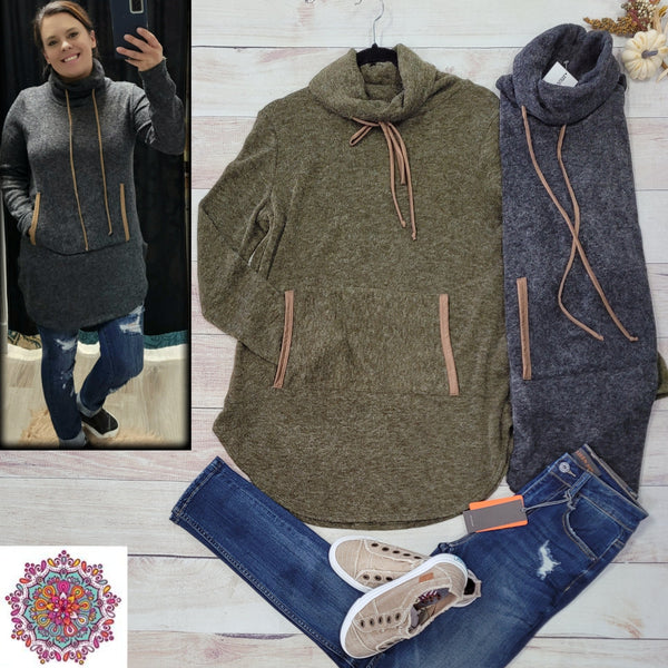 Cowl sweater tunic with kangaroo pocket