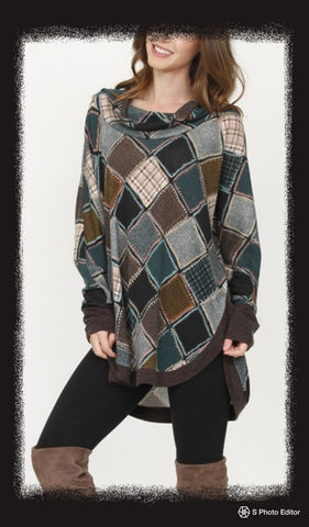 Patchwork print cowl neck cape style tunic