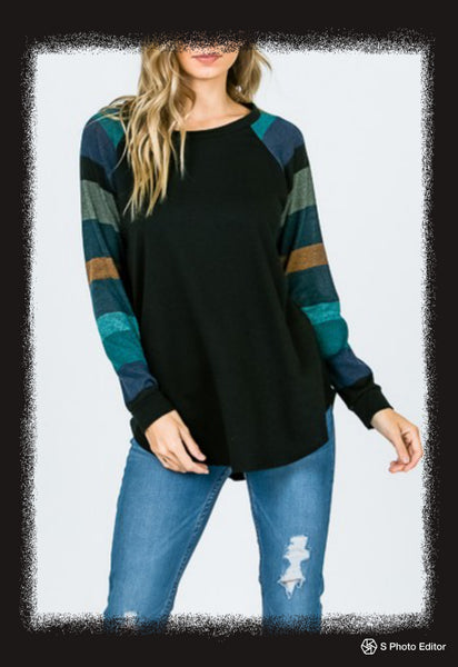 Long sleeve top with striped sleeves