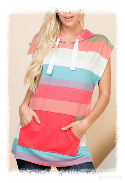 Sleeveless hooded colorblock top