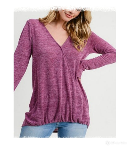 Drape front hacci long sleeve top