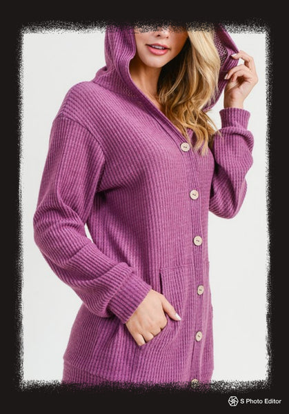 Waffle soft brushed button front cardigan with hood