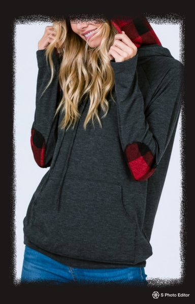 Side zip double hood hoodie with plaid contrast