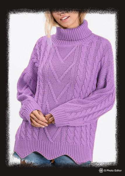 Turtleneck sweater with scalloped hem