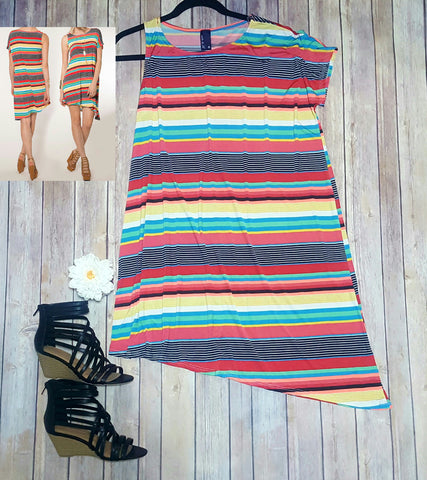 Asymmetric multi color stripe dress
