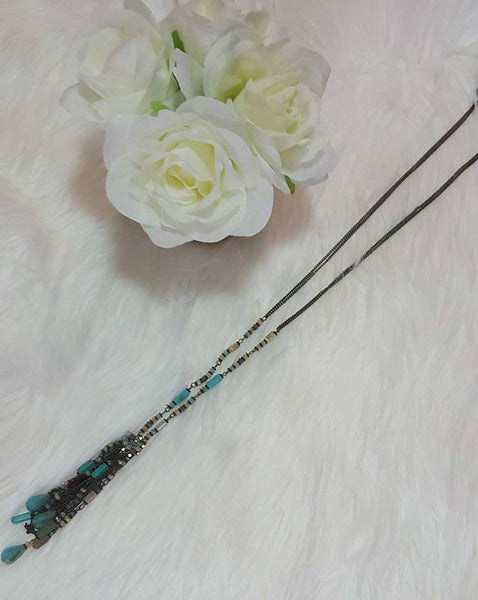 Long Beaded Dangle Necklace