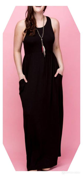 Plus size solid racer back maxi dress