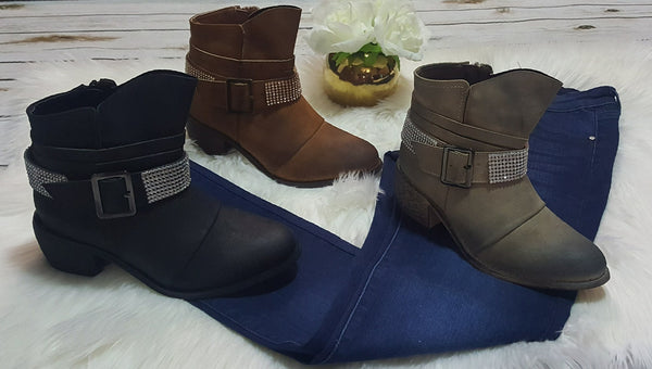 Booties with bead, strap and buckle detail