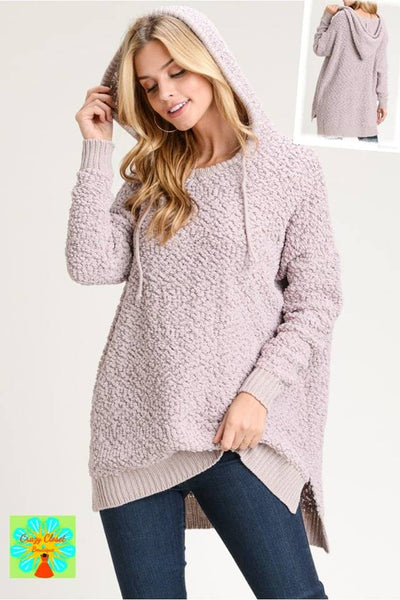 Boucle knit hooded tunic