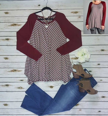 Burgundy plus chevron long sleeve