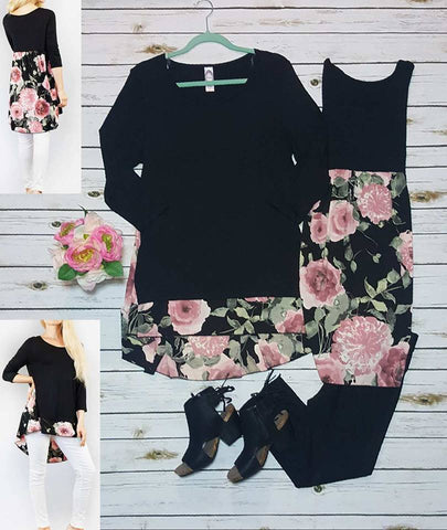 3/4 sleeve floral detail hi-low tunic