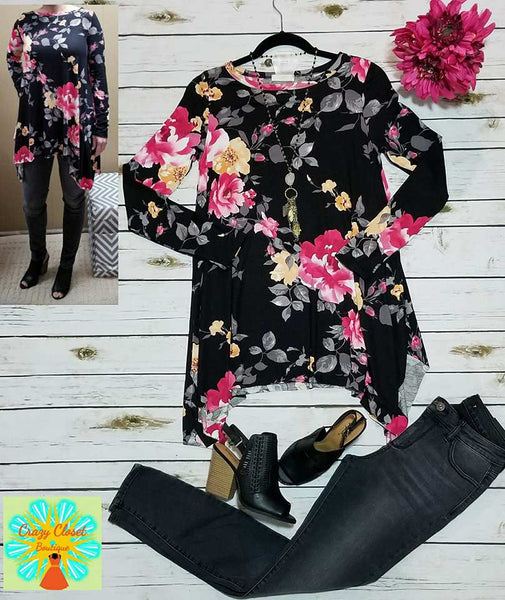 Long sleeve floral sharkbite tunic