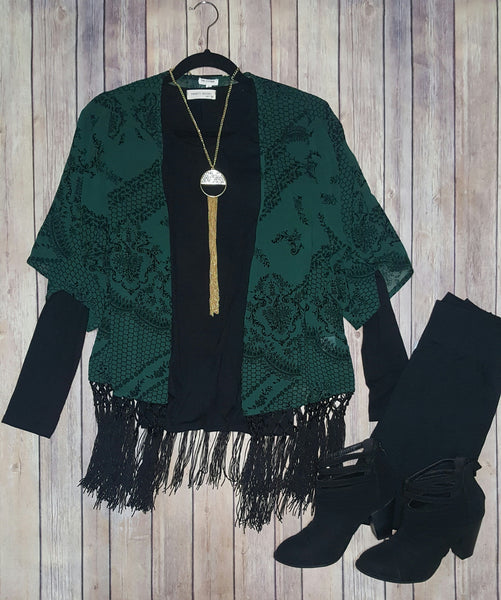 Sheer green fringe cardigan