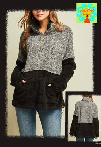 Color block faux fur half zip pull over
