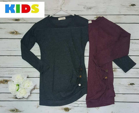 Kids button detail sweater knit tunic