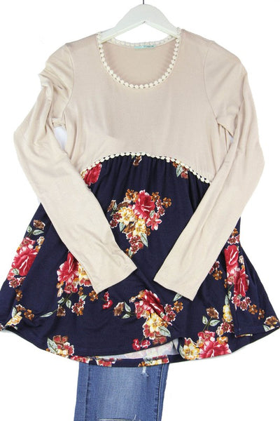 KIDS long sleeve floral solid top with lace detail