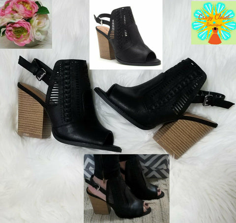Black open heel and toe cut out bootie