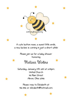 Bumble Bee II Party Invitation • Baby Shower Birthday • Any Colors Baby Shower Invitations - Everything Nice