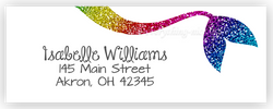 Rainbow Mermaid Tail Address Labels • Self Adhesive Stickers