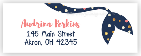 Polka Dot Mermaid Tail Address Labels • Self Adhesive Stickers Return Address Labels - Everything Nice