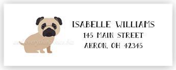 Pug Dog Return Address Labels • Self Adhesive Stickers Return Address Labels - Everything Nice