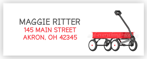 Red Wagon Address Labels • Self Adhesive Stickers