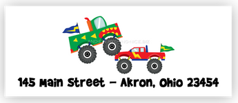 Monster Truck Return Address Labels • Self Adhesive Stickers Return Address Labels - Everything Nice