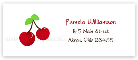 Cherries Return Address Labels • Self Adhesive Stickers Return Address Labels - Everything Nice