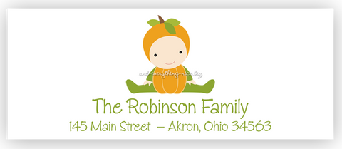 Pumpkin Baby Return Address Labels • Self Adhesive Stickers