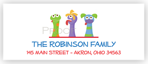 Puppet Show Return Address Labels • Self Adhesive Stickers