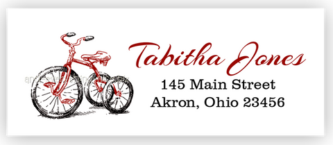 Tricycle Return Address Labels • Self Adhesive Stickers Return Address Labels - Everything Nice
