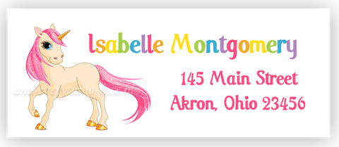 Unicorn Return Address Labels • Self Adhesive Stickers