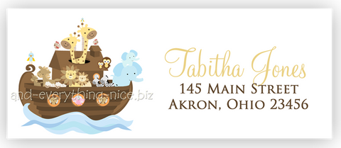 Noah's Ark Return Address Labels • Self Adhesive Stickers Return Address Labels - Everything Nice