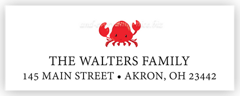 Crab Return Address Labels • Self Adhesive Stickers Return Address Labels - Everything Nice
