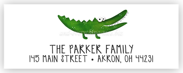 Alligator Return Address Labels • Self Adhesive Stickers