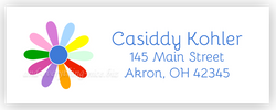 Rainbow Daisy Address Labels • Self Adhesive Stickers