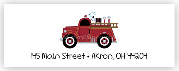Fire Truck Address Labels • Self Adhesive Stickers Return Address Labels - Everything Nice