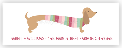 dachshund dog b return address labels self adhesive stickers