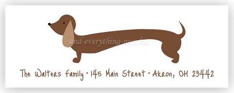 dachshund dog return address labels self adhesive stickers
