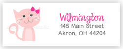 Pink Cat Return Address Labels • Self Adhesive Stickers