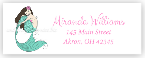 Mermaid Address Labels • Self Adhesive Stickers Return Address Labels - Everything Nice