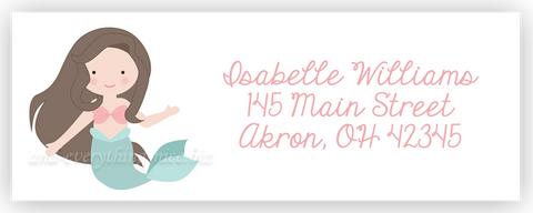 Mermaid c Address Labels • Self Adhesive Stickers Return Address Labels - Everything Nice