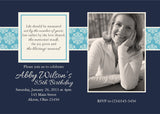 Adult Photo Birthday Party Invitation c • Any Colors Adult Photo Birthday Invitations - Everything Nice