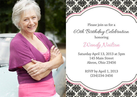 Adult Photo Birthday Party Invitation r • Any Colors Adult Photo Birthday Invitations - Everything Nice