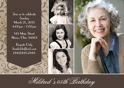 Adult Photo Birthday Party Invitation w • Any Colors Adult Photo Birthday Invitations - Everything Nice