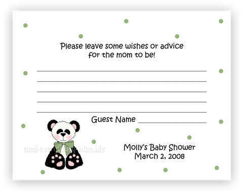 Panda Bear II •  Advice or Wishes Card
