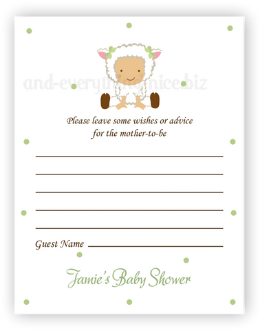 Baby Lamb •  Advice or Wishes Card Advice Cards - Everything Nice