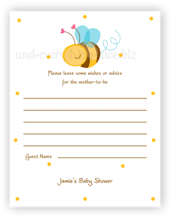 Cute Bee •  Advice or Wishes Card Advice Cards - Everything Nice