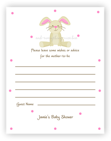 Bunny Rabbit II •  Advice or Wishes Card Advice Cards - Everything Nice